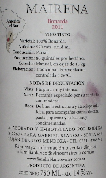 Mairena Bonarda back label