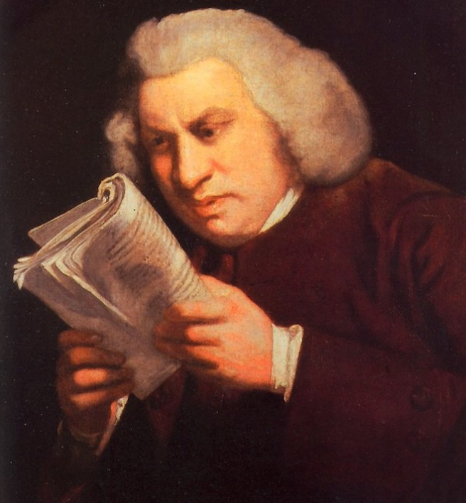 Johnson reading closely. Portrait by Joshua Reynolds.