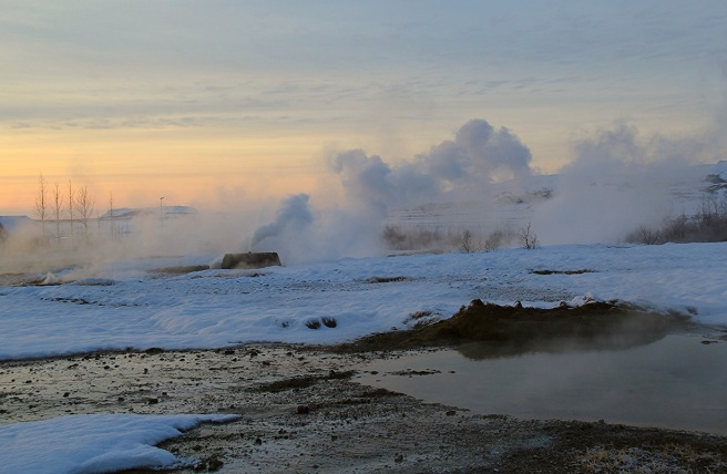The hot springs. Geysir geothermal area ( southern Iceland). Credit: Meredith Katzman.
