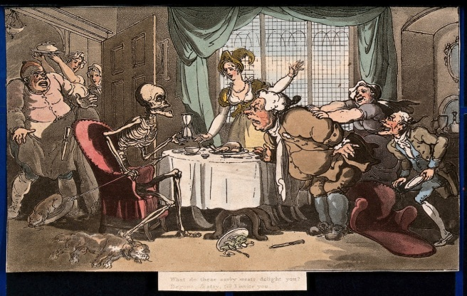 V0042012 The dance of death: the glutton. Coloured aquatint by T. Row