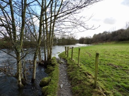 Dales Way footpath tapering off into the water